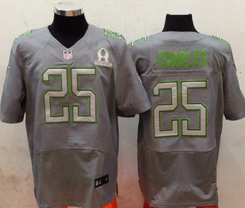 Nike Chiefs 25 Charles Grey 2014 Pro Bowl Jerseys