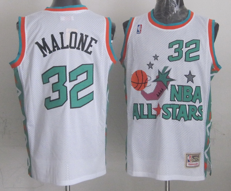 1996 All Star 32 Malone White Jerseys