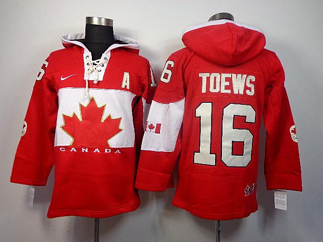 Canada 16 Toews Red 2014 Olympics Hooded Jerseys