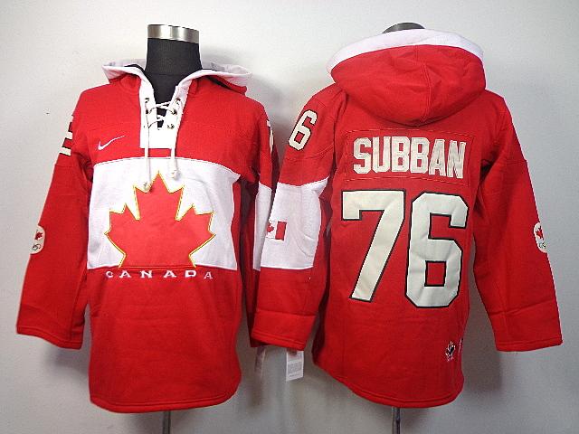 Canada 76 Subban Red 2014 Olympics Hooded Jerseys