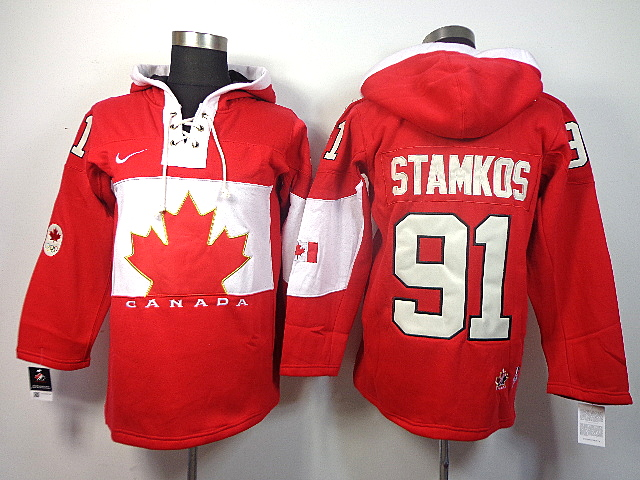 Canada 91 Stamkos Red 2014 Olympics Hooded Jerseys