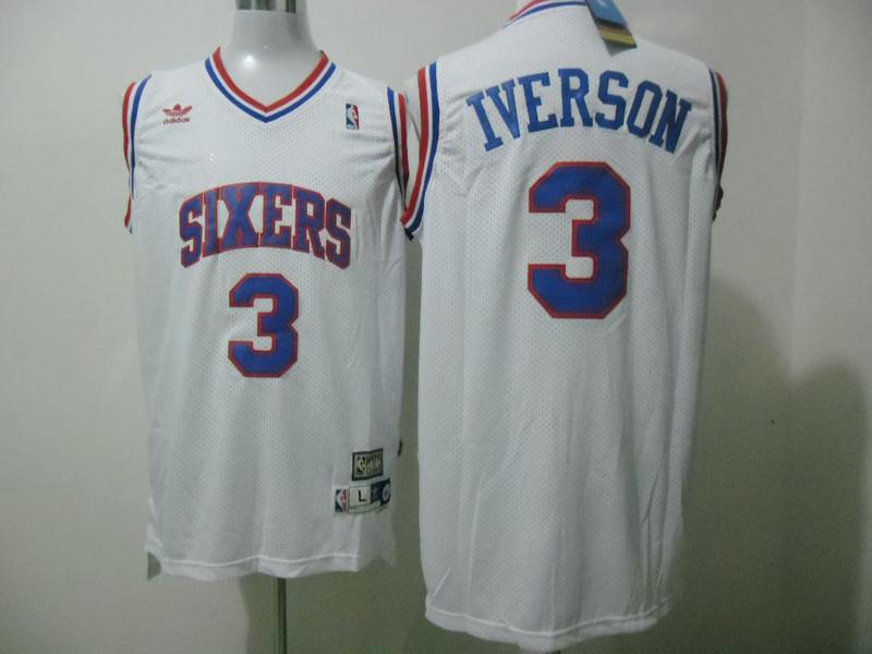 76ers 3 Iverson White Hardwood Classics Jerseys