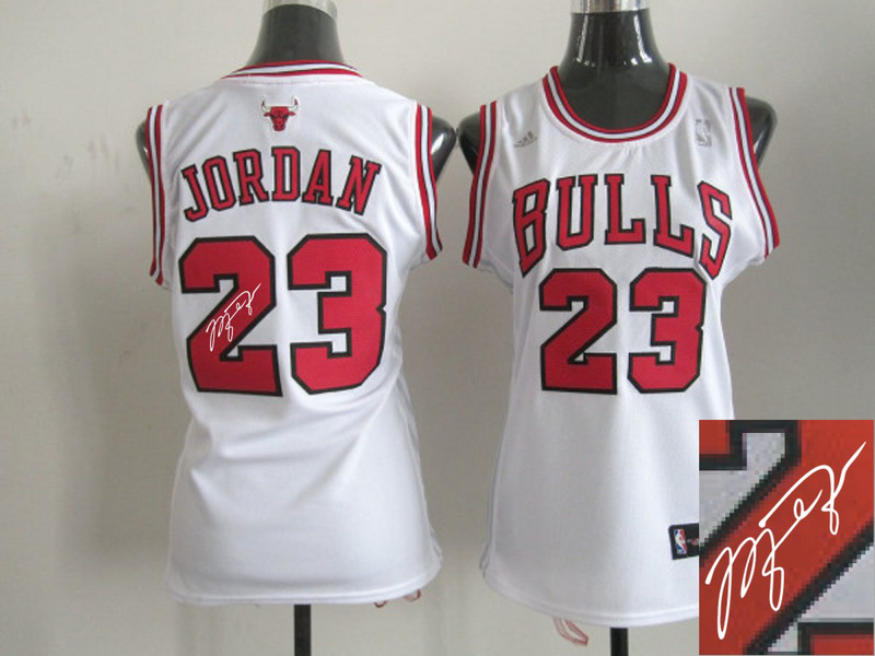 Bulls 23 Jordan White Signature Edition Women Jerseys