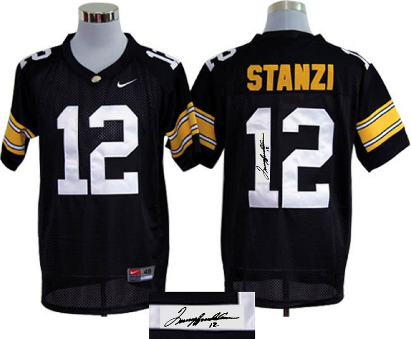 Iowa Hawkeyes 12 Stanzi Black Signature Edition Jerseys