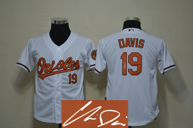 Orioles 19 Davis White Signature Edition Youth Jerseys