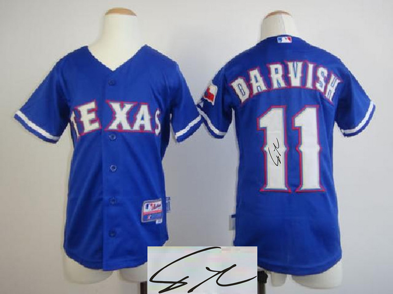 Rangers 11 Darvish Blue Signature Edition Youth Jerseys