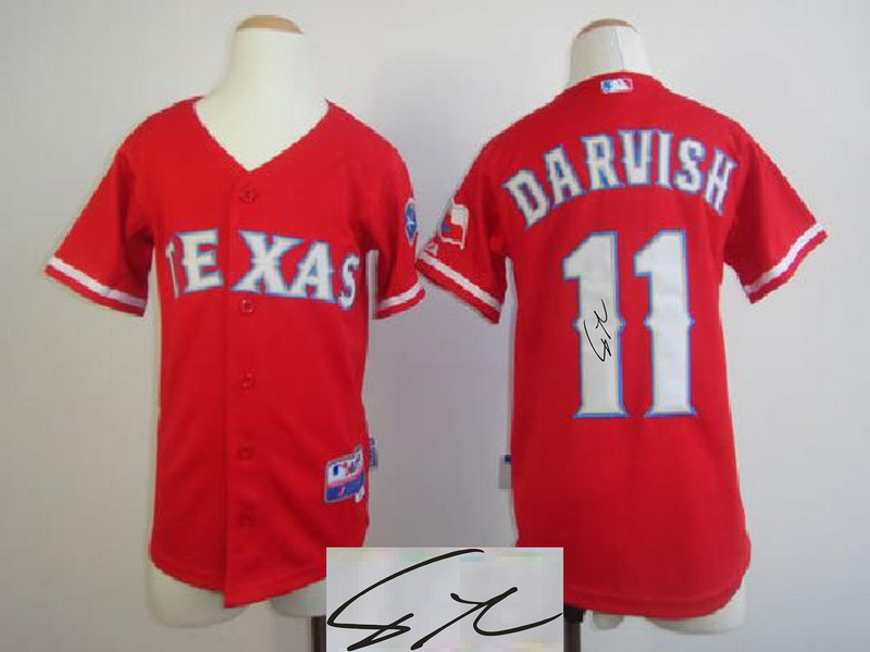 Rangers 11 Darvish Red Signature Edition Youth Jerseys