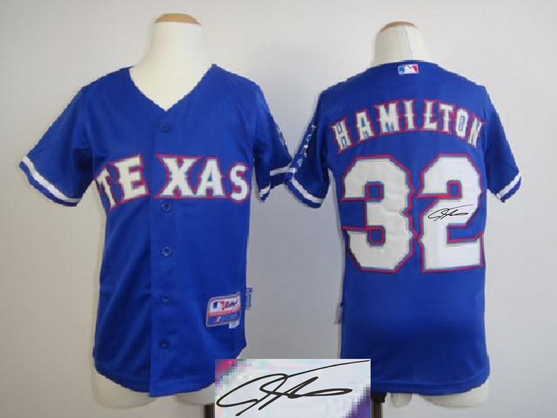 Rangers 32 Hamilton Blue Signature Edition Youth Jerseys