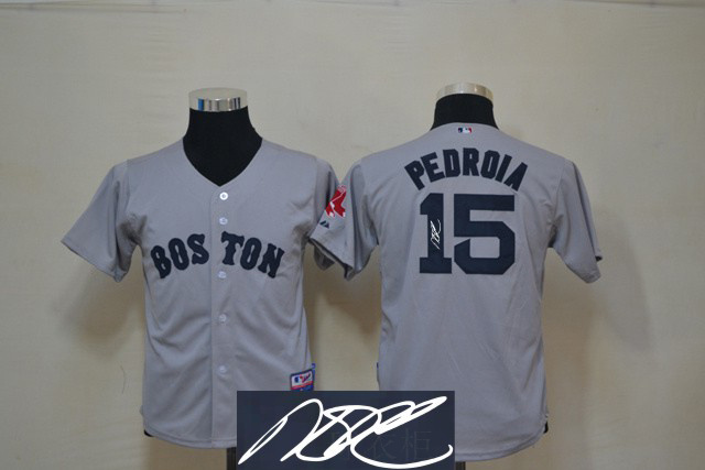 Red Sox 15 Pedroia Grey Signature Edition Youth Jerseys