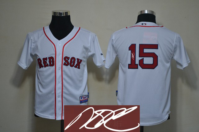 Red Sox 15 Pedroia White Signature Edition Youth Jerseys