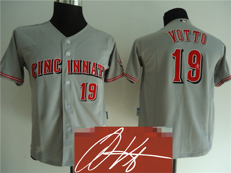 Reds 19 Votto Grey Signature Edition Youth Jerseys