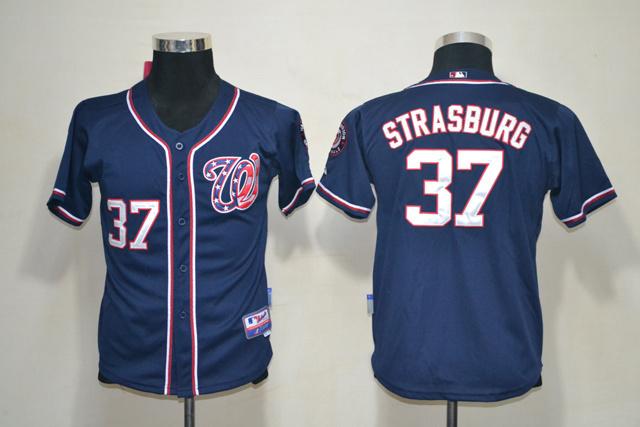 Nationals 37 Strasburg Blue Youth Jersey