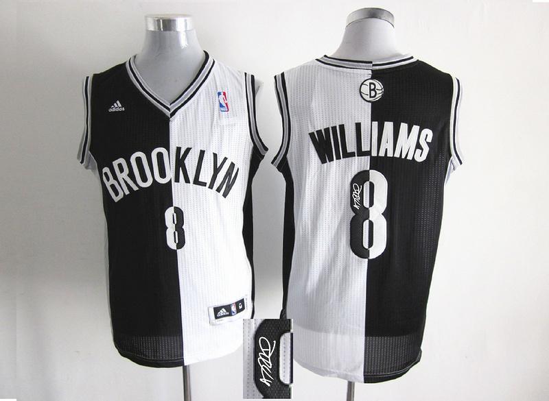 Nets 8 Williams White & Black Split Signature Edition Jerseys