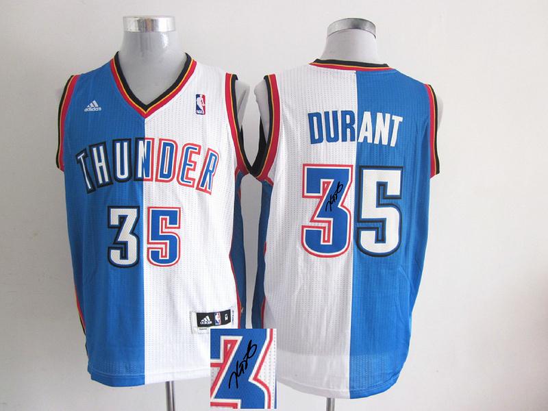 Thunders 35 Durant White & Blue Split Signature Edition Jerseys