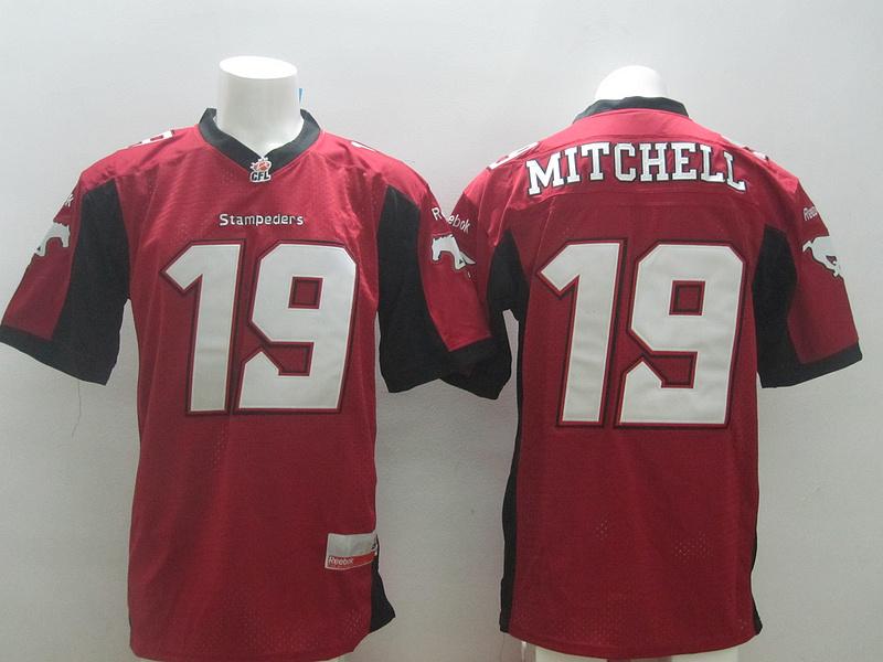 Reebok CFL Stampeders 19 Mitchell Red Jerseys